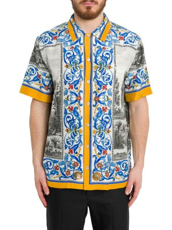 Dolce & Gabbana Temple Print Silk Bowling Shirt