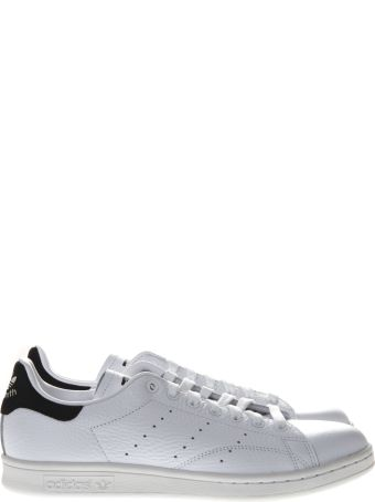 Adidas Originals Stan Smith White Leather And Black Suede Sneakers