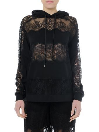 McQ Alexander McQueen Black Laced & Cotton Sweatshirt