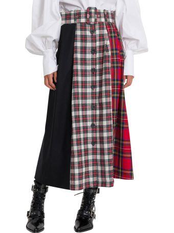 Isa Arfen Tartan Poatchwork Skirt With Middle Buttons-line