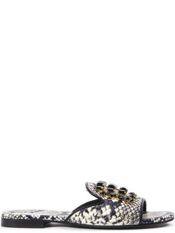 Emanuela Caruso Stone Embellished Python Leather Sandals