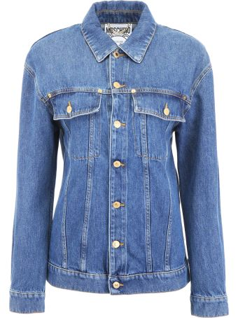 Moschino Denim Jacket With Embroidered Teddy Bear