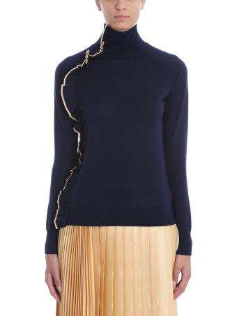 Victoria Victoria Beckham Ruffle Trim Turtle Neck Sweater
