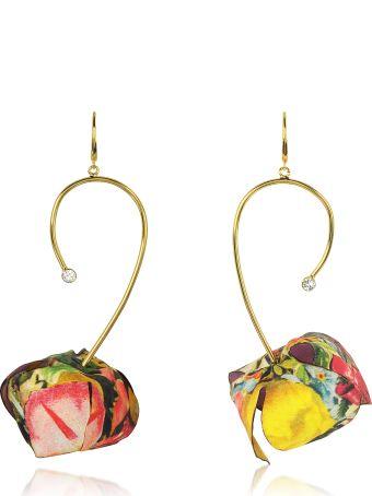 Marni Multicolor Fabric Flower W/strass
