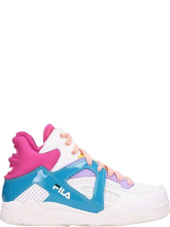 Fila White And Fucsia Leather Cage Cb Mid Sneakers