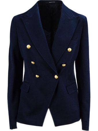Tagliatore Blue Cotton Jalicya Classic Double-breasted Blazer