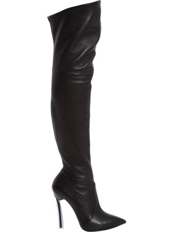Casadei Black Leather Over The Knee Boot