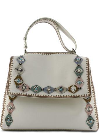 Orciani White Leather Sveva Large Bag