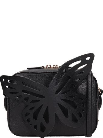 Sophia Webster Black Letaher Flossy Butterfly Camera Bag