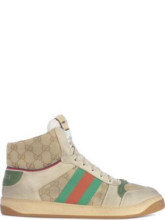 Gucci *virtus Hi Top Textil Monogram And Web On The Back
