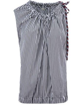 Dries Van Noten Striped White And Black Cotton Top