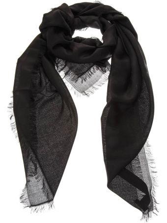 Emporio Armani Fringed Black Headscarf