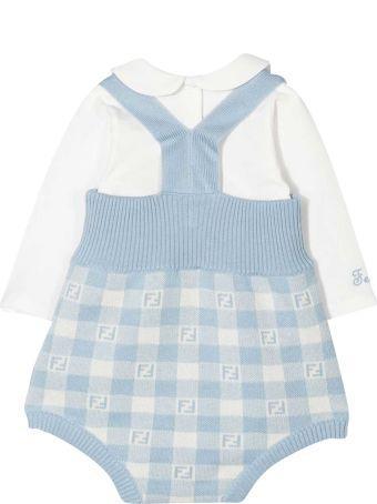 Fendi Blue Shirt And Dungaree Set