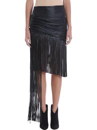 Magda Butrym John Fringe Black Leather Skirt