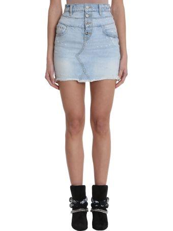 AMIRI Double Waist Blue Light Denim Skirt