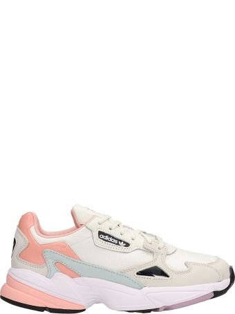Adidas Falcon W White And Pink Fabric Sneakers
