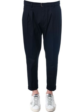 Low Brand Navy Blu Cotton Trousers