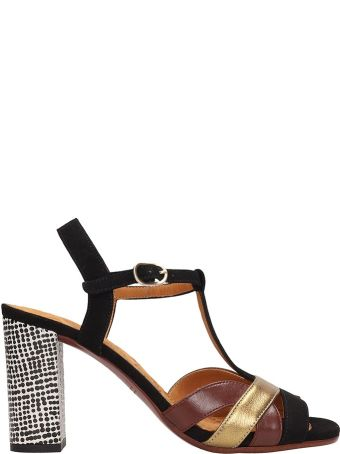 Chie Mihara Black Suede Beirun Sandals