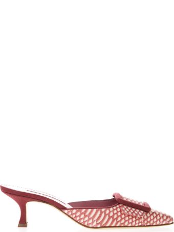 Manolo Blahnik Maysale White & Pink Leather Mules