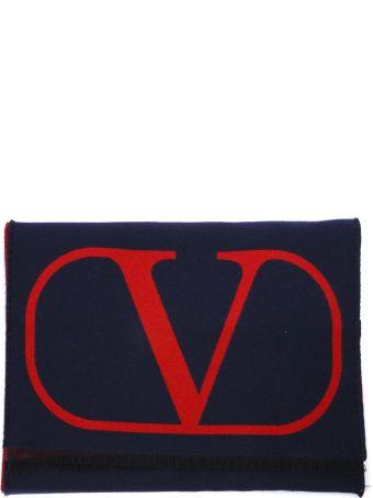 Valentino Garavani Red & Blue Vlogo Wool & Silk Scarf