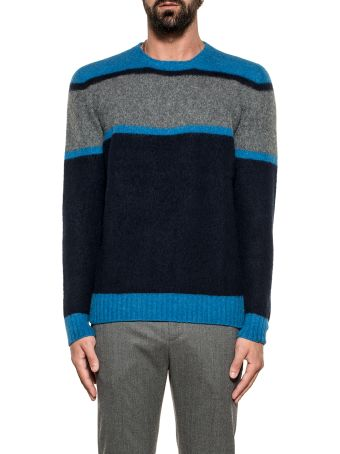 Drumohr Light Blue/gray/blue Striped Wool Sweater