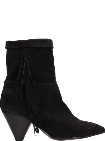 Janet & Janet Black Suede Leather Ankle Boots