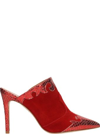 Paris Texas Red Suede Sabot Camperos Sandals