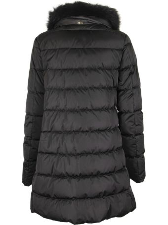 Herno Black Down Jacket With Fur