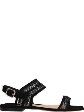 The Seller Black Suede Flat Sandals