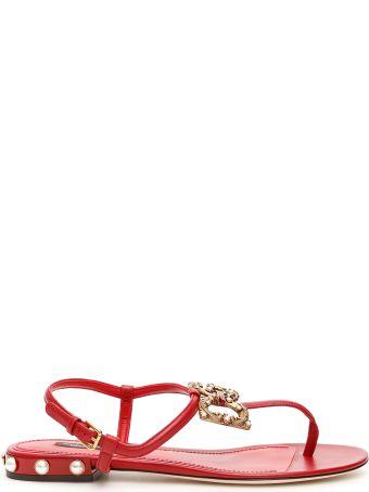 Dolce & Gabbana Sandals With Logo Buckle