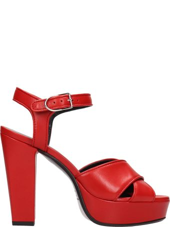 Sonia Rykiel Red Calf Leather Sandals