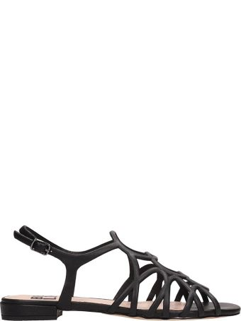Bibi Lou Black Leather Flat Sandals
