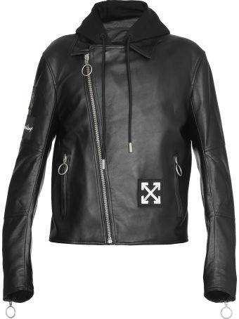 Off-White Leather Hoodie Biker Jacket
