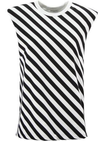 Dries Van Noten White And Black Striped Cotton Sweatshirt
