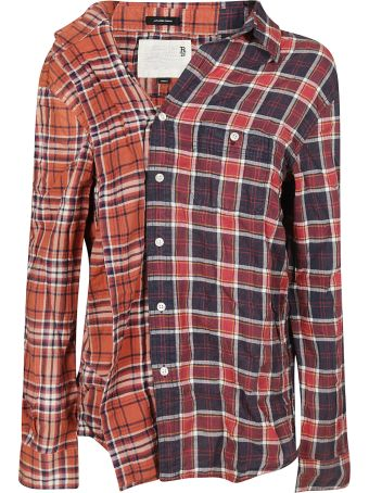 R13 Off-shoulder Checked Shirt