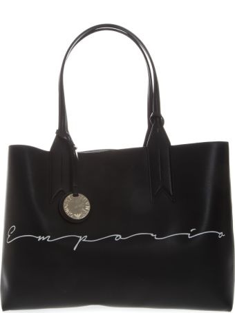 Emporio Armani Shopper Bag In Black Faux Leather With Charm Logo