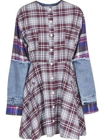 Natasha Zinko Check Print Denim Sleeve Mini Dress