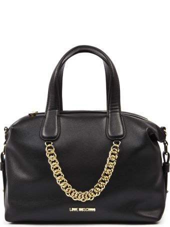 Love Moschino Black Faux Leather Handbag With Chain Detail