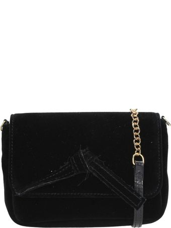 L'Autre Chose Black Velvet Mini Bag
