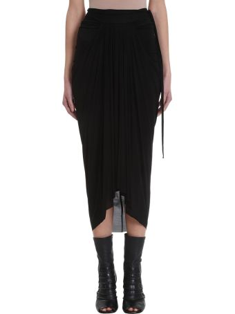 Rick Owens Lilies Black Draped Skirt