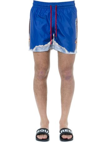 Frankie Morello Printed Swim Shorts In Blue Technical Fabric