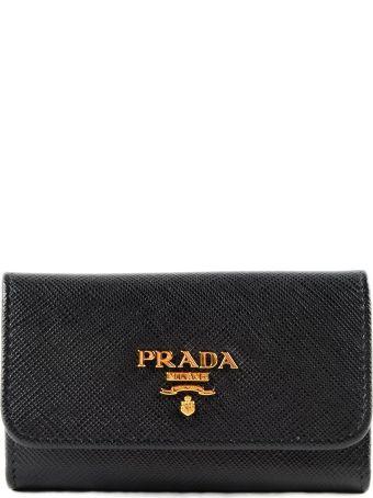 Prada Logo Plaque Key Case