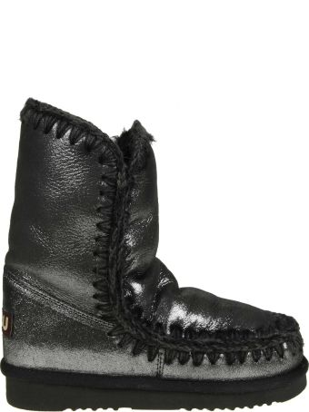 """Mou Sneakers """"eskimo 24"""" In Laminated Leather Color Black"""
