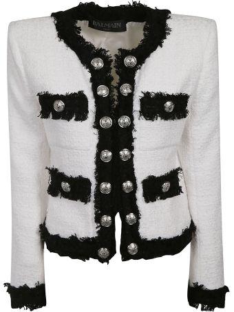 Balmain Contrast Fringe Tweed Jacket