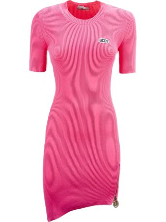 GCDS Pink Asymmetric Knitted Short Dress