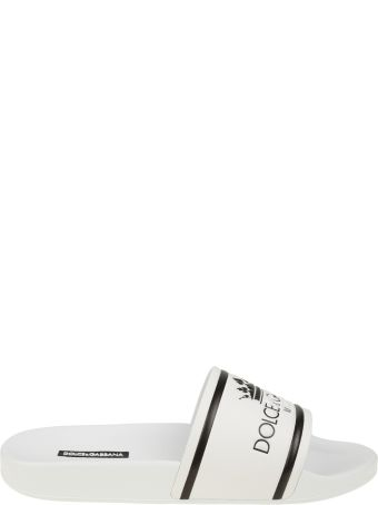Dolce & Gabbana Rubber And Calf White Slippers With Logo