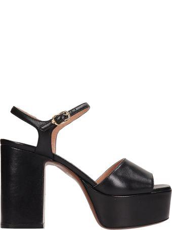 L'Autre Chose Black Leather Sandals