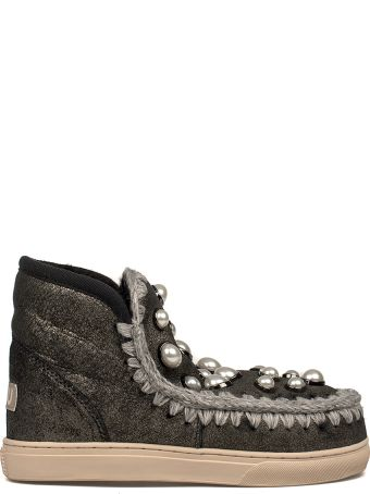 Mou Black Mini Eskimo Pearls Low Boot