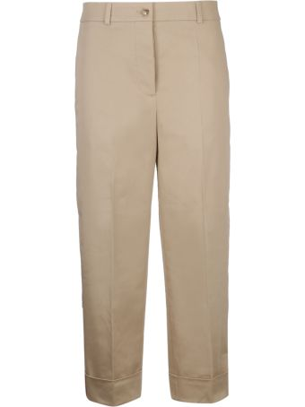 Burberry Icon Stripe Detail Cropped Trousers