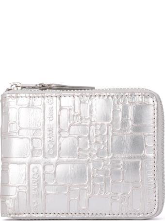 Comme des Garçons Wallet Comme Des Garçons Silver Leather Wallet With Print